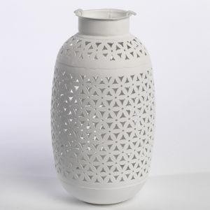 Nkuku Tall Petal Lantern - White - 26.5cm(H) x 12cm(Diameter)