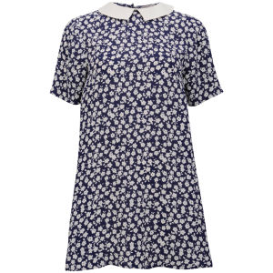 Neon Rose Women's Floral Print Collar Dress - Blue