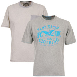 French Connection 2 Pack T-Shirts - Vanilla/Grey Sky