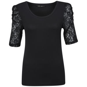 Brave Soul Women's Mischa Lace Sleeve Top - Black