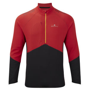 RonHill Men's Trail Long Sleeve Zip T-Shirt - Cardinal Red/Black