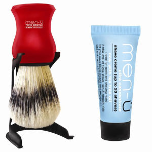 men-u Barbiere Shaving Brush and Stand - Red