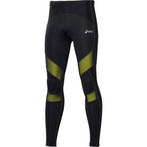 Asics Men's Leg Balance Performance Running Tights - Black/Electric Lime