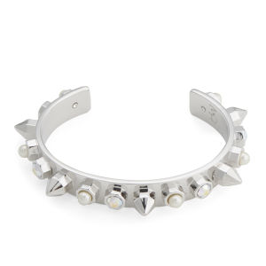 Maria Francesca Pepe Encrusted Studs, Pearls and Swarovski Thin Cuff - Rhodium/Aurora/White