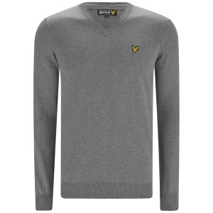 Lyle & Scott Vintage Men's Long Sleeve V-Neck Cotton Pullover - Mid Grey Marl