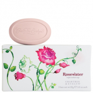 CRABTREE & EVELYN ROSEWATER TRIPLE-MILLED SOAP (3X85G)