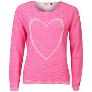 Moku Women's Heart Melange Knit Jumper - Neon Pink