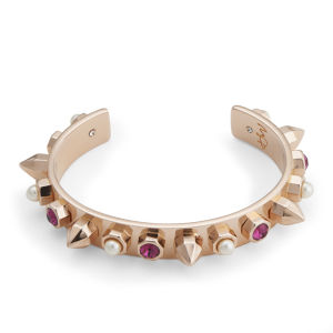 Maria Francesca Pepe Encrusted Studs, Pearls and Swarovski Thin Cuff - Rose Gold/Fuchsia/White