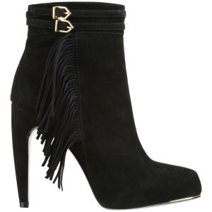 Sam Edelman Women's Keegan Suede Fringed Boots - Black