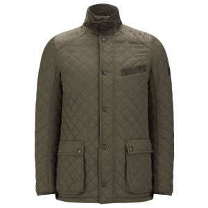 Knutsford Men's Quilted Jacket with Cashmere Blend Lining - Khaki