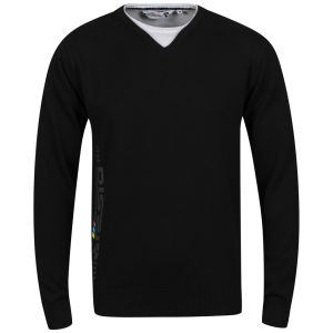 Dissident Men's Melle Knitted V Neck Jumper with T-Shirt Detail - Black