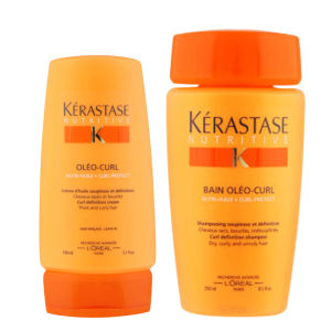 Kérastase Nutritive Shampoo and Heat Protection Leave in Cream for Dry, Curly Hair Duo