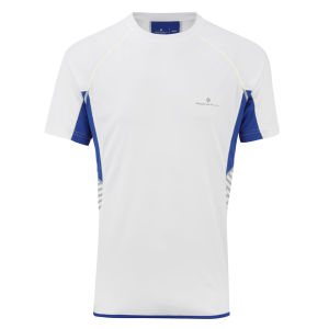 RonHill Men's Advance Short Sleeve Crew Neck Running Top - White/Cobalt
