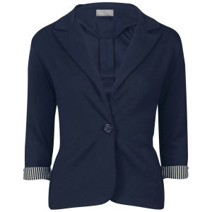 Love Sole Women's Fitted Contrast Striped Cuff Blazer - Navy