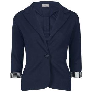 Love Sole Women's Fitted Contrast Striped Cuff Blazer - Navy