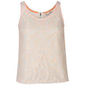 Nova Women's Contrast Neon Lace Vest - Neon Orange