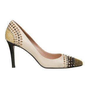 Lola Cruz Women's Jewelled High Court Leather Shoes - Off White/Black
