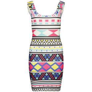 Influence Women's Aztec Bold Bodycon Dress - White
