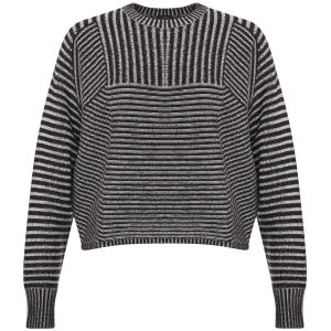 Joseph Women's Crew Neck Plated Rib Sweater - Black/White