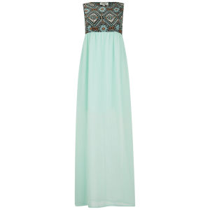 Madam Rage Women's Aztec Print Maxi Dress - Mint