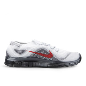 Nike Men's Free Flyknit + Running Shoes - Silver