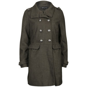 Brave Soul Women's Double Breasted Military Coat - Khaki