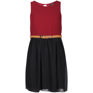 Club L Women's Colour Block Belted Skater Dress - Berry/Black
