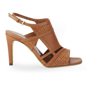 BOSS Black Women's Moiry Leather Strappy Heeled Sandals - Light/Pastel Brown