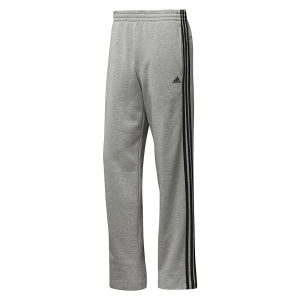 adidas Men's Essential 3 Stripe Open Hem Pants - Grey/Black