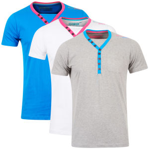 Brave Soul Men's 3-Pack Chiverton V-Neck T-Shirt - White/Grey/Blue