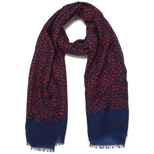 Paul's Boutique Tiger Print Scarf - Coral/Navy
