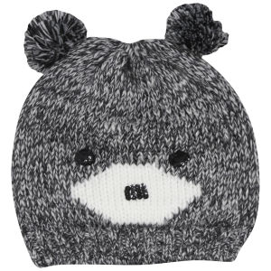Women's Bear Knit Beanie - Grey/Ivory