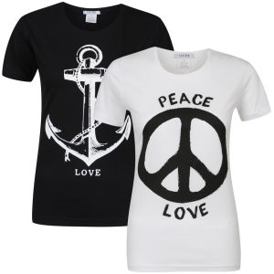 Taylor Women's 2-Pack Peace And Anchor Graphic T-Shirts - White & Black