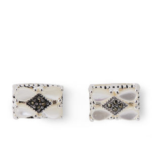 Rectangle Silver Plated Marcasite and Topaz Earrings