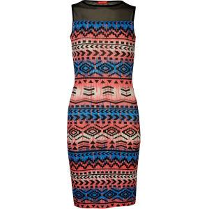 Influence Women's Printed Dress - Black/Blue
