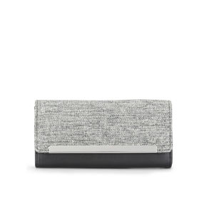 French Connection Women's Luna Tweed Mix Wallet - Black/Grey Weave