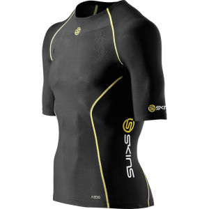 Skins A200 Active Compression Short Sleeve Top - Black/Yellow