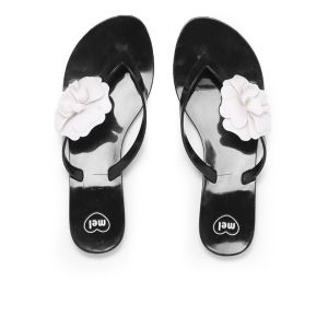 Mel Women's Honey Flower Flip Flops - Black Contrast