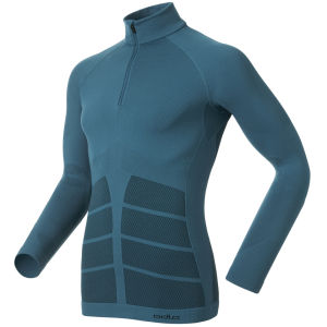 Odlo Men's Evolution Warm Long Sleeve 1/2 Zip Base Layer - Blue/Black