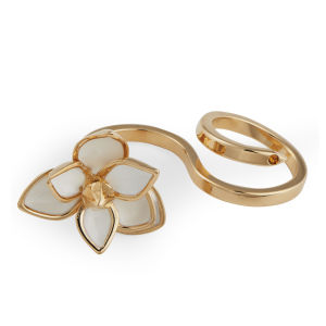 Maria Francesca Pepe Flower Double Ring - Gold/White/Topaz