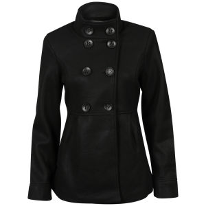 Brave Soul Women's Iark Funnel Neck Coat - Black