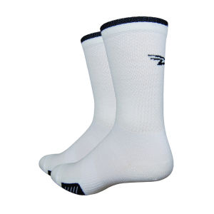 DeFeet Cyclismo 5 Inch Socks - White with Black Stripes