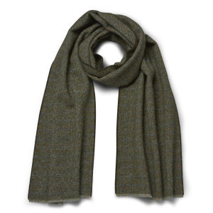 Knutsford Men's Textured Marl Cashmere Scarf - Rust/Blue