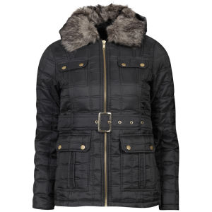 Brave Soul Women's Quilted Belted Jacket with Fur Trim - Black