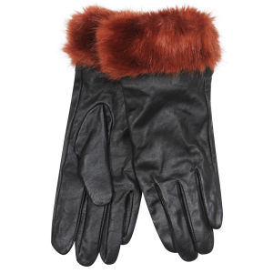 Women's Faux Fur Leather Gloves - Burnt Orange