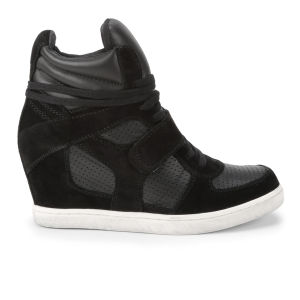 Ash Women's Cool Suede and Leather Hi-Top Wedge Trainers - Black