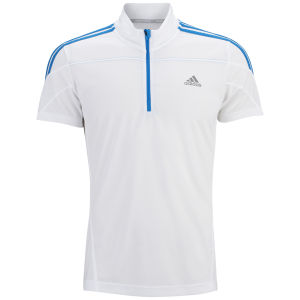 Adidas Men's Response Short Sleeve 1/2 Zip Top - White/Solar Blue