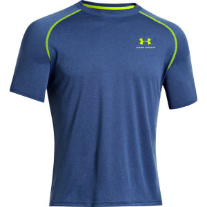Under Armour Men's New UA Tech Short Sleeve T-Shirt - Heather Jean/High-Vis Yellow