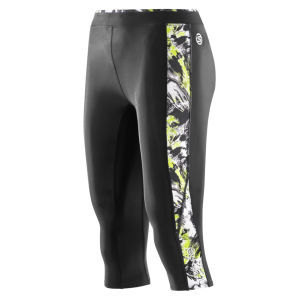 Skins Women's Bio A200 3/4 Tights - Black/Acid Print