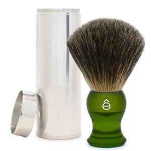 eShave Travel Fine Badger Hair Shaving Brush with Canister (Green)